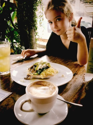 The other best breakfast in Ubud - at Vespa Cafe. Get the flat white, and the mushroom and spinach.